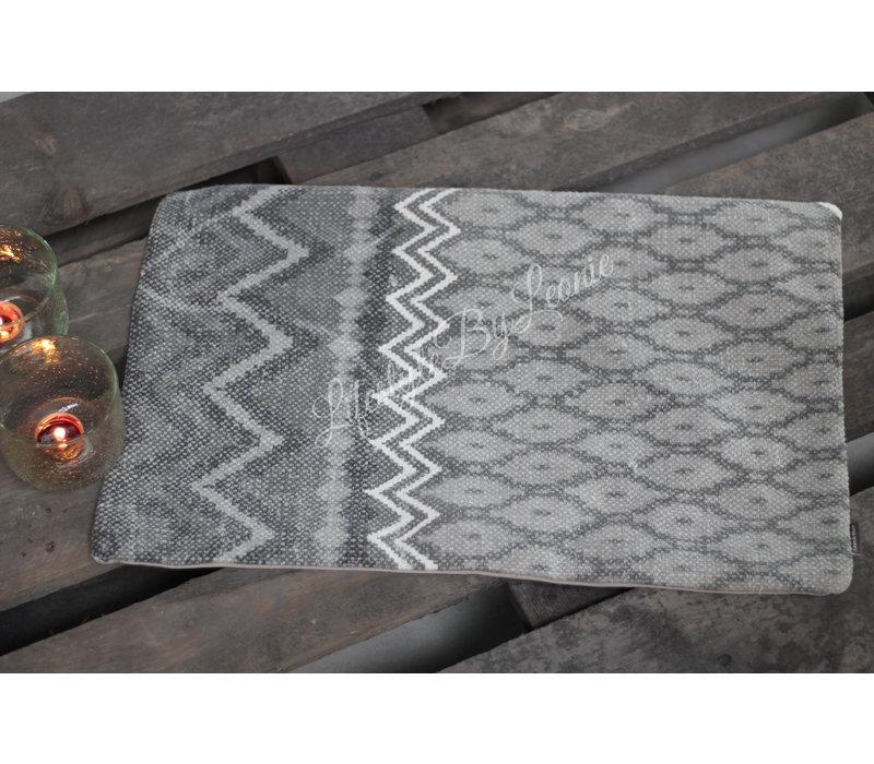 Langwerpige kussenhoes kelim Soft grey