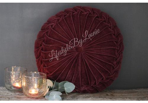 LifestyleByLeonie Rond velvet kussen Bordeaux 40 cm