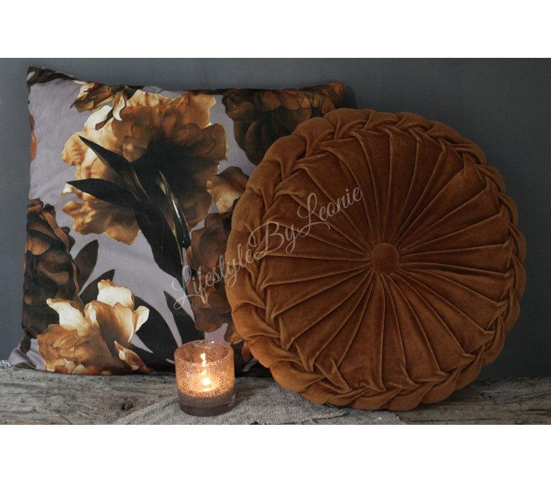 Rond velvet kussen Dark Camel 40 cm