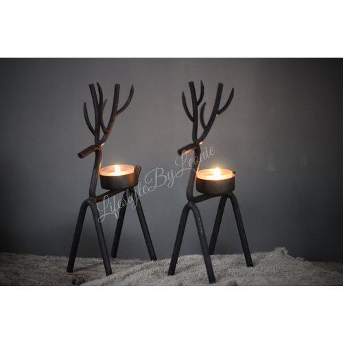 Zwart metalen waxine houder 'Hert'|22cm