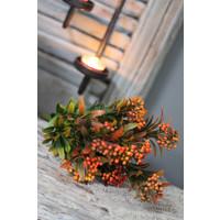 Zijden bosje Pepper bush groen/oranje
