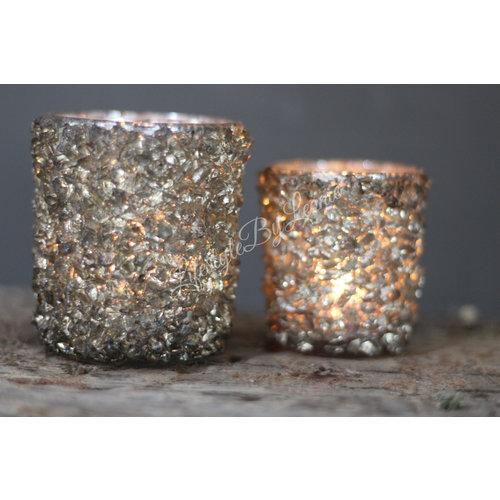 Waxinelichthouder 'Stones' grijs| S
