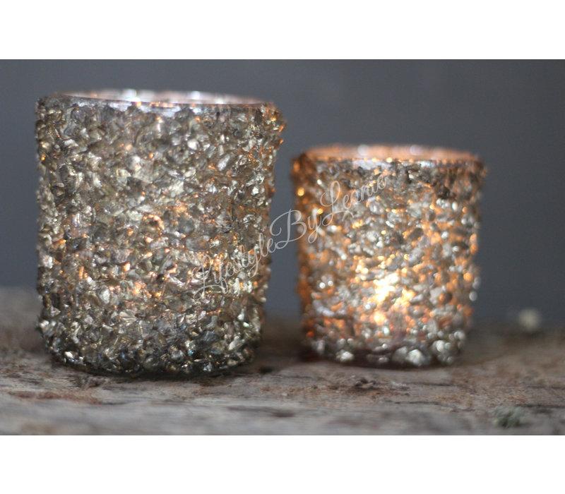 Waxinelichthouder Stones grijs - maat S