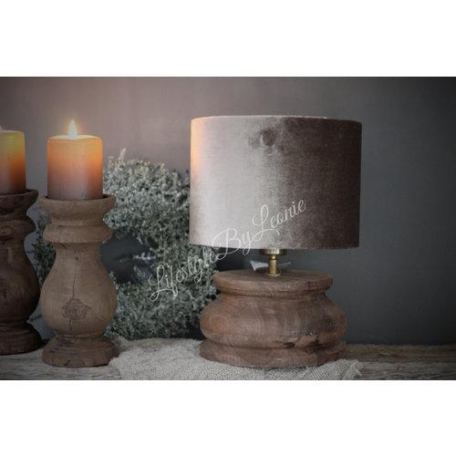 Donker houten baluster lampvoet|22cm