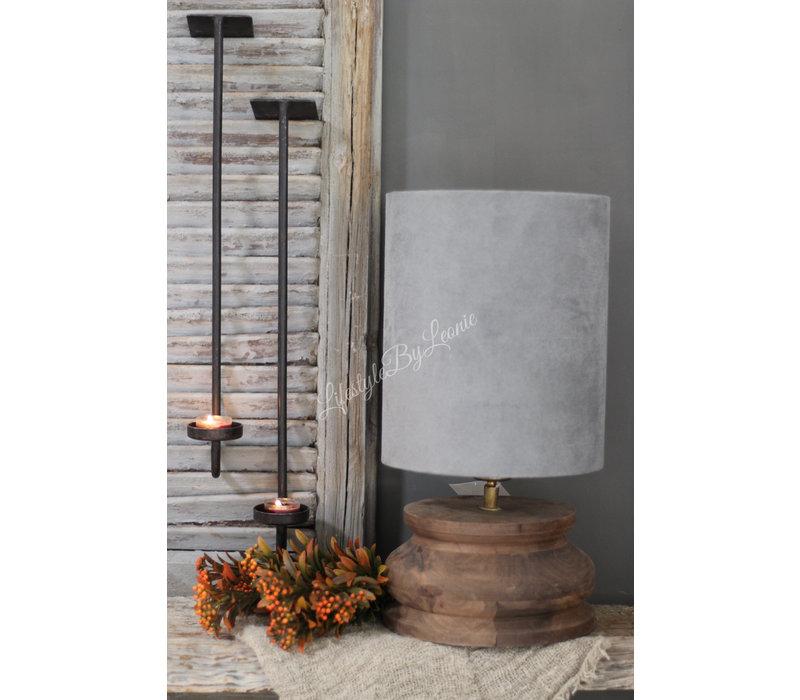 Houten baluster lampvoet donker