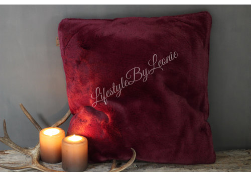 LifestyleByLeonie Bont kussen supersoft Dark purple / Magenta 50 cm