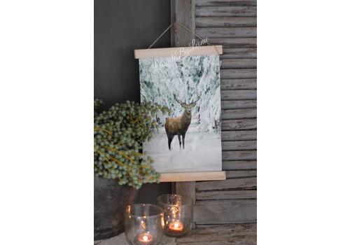 LifestyleByLeonie Wand hanger linnen Hert sneeuw 40 cm