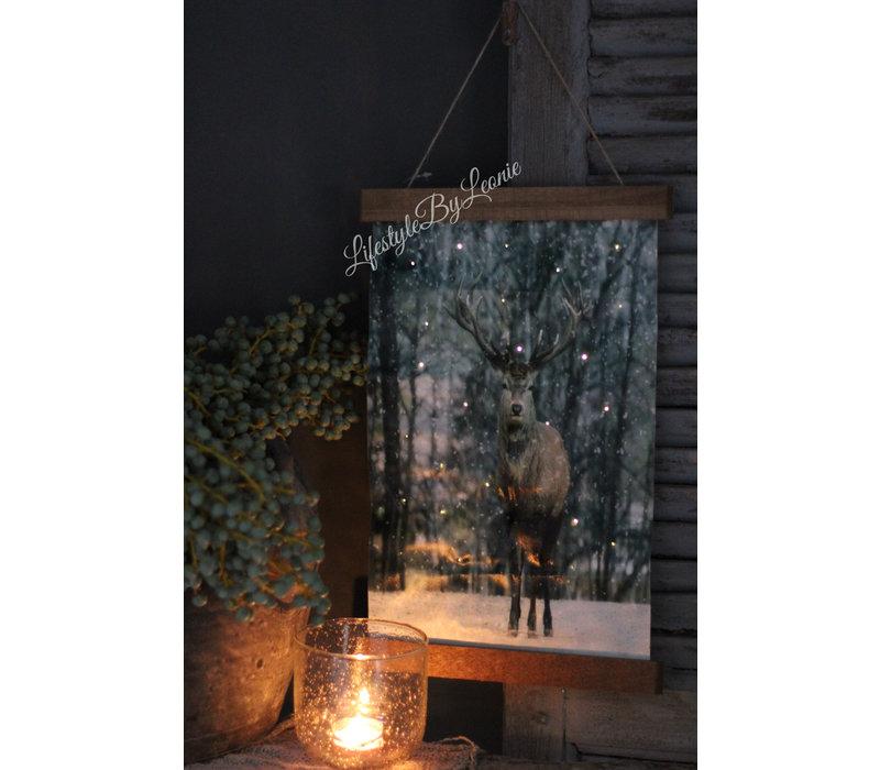 Wandhanger linnen Hert bos 40 cm
