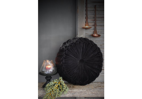 LifestyleByLeonie Rond velvet kussen Black 40 cm