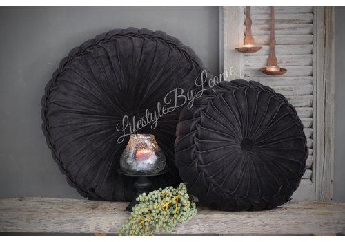 LifestyleByLeonie Rond velvet kussen Black 60 cm