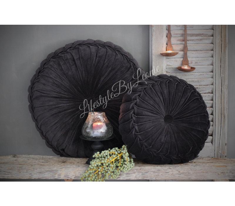 Rond velvet kussen Black 60 cm