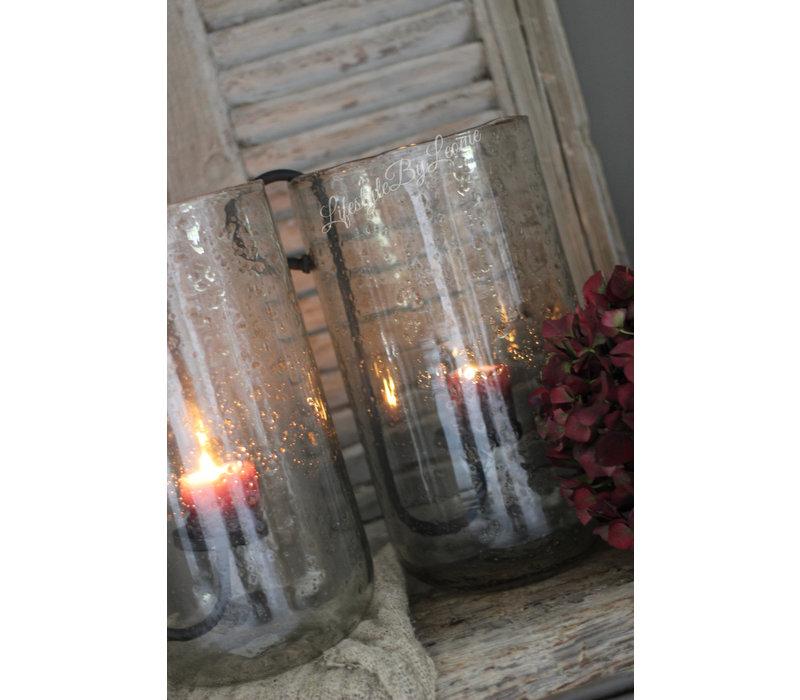 Cilinder windlicht round Edge bubbels 31 cm