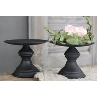 Zwart metalen tray / kandelaar op voet 13 cm