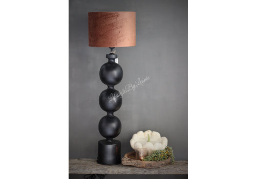 Zwart metalen bol lampenvoet 70 cm