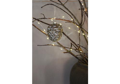 Colmore Glazen glitter ornament dennenappel