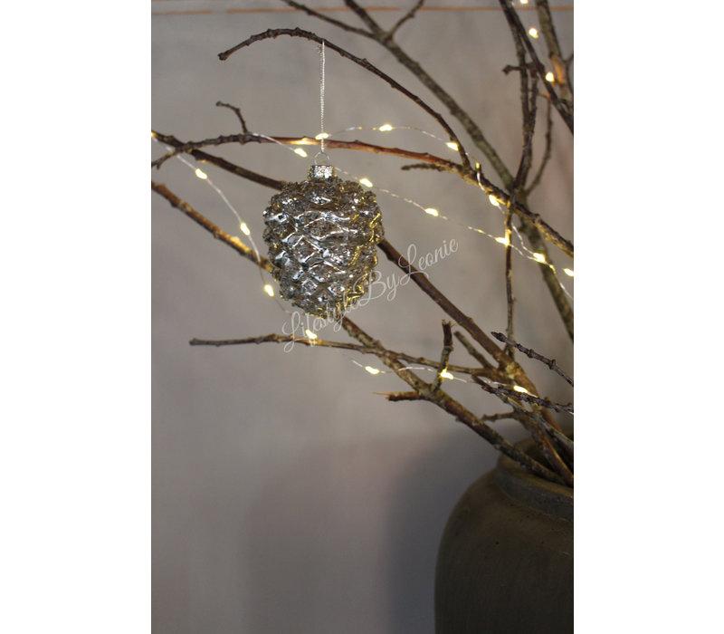 Glazen glitter ornament dennenappel