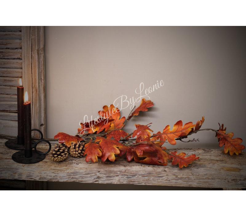 Zijden tak Oak roestbruin eikenblad 112 cm