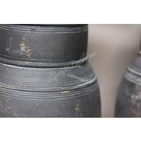 Zwarte Nepalese stenen lampvoet Delhi 30 cm