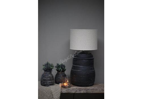 LifestyleByLeonie Zwarte Nepalese stenen lampvoet Delhi 30 cm