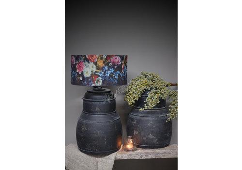 LifestyleByLeonie Zwarte Nepalese stenen lampvoet Delhi 40 cm