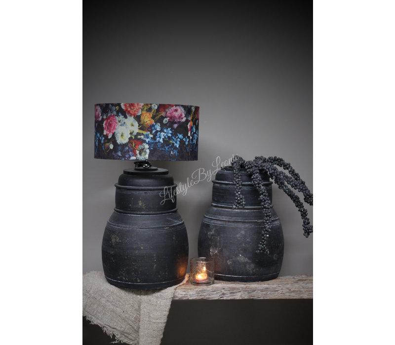 Zwarte Nepalese stenen lampvoet Delhi 40 cm