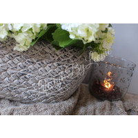 Ovale stenen bloempot Miek lichtgrijs