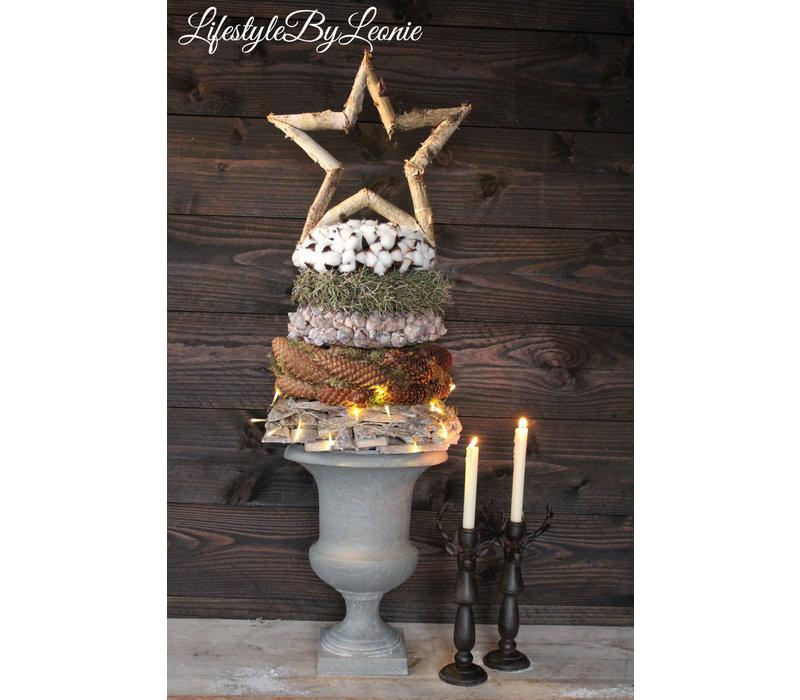 Sobere kerstster Berkenhout 40 cm