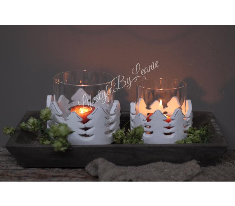 Windlicht Kerstboom met wit stenen rand - maat L