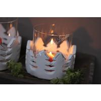 Windlicht Kerstboom met wit stenen rand - maat M