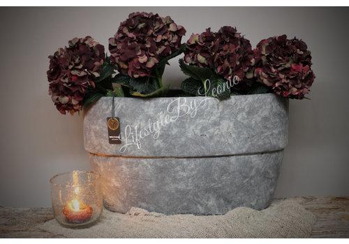 Brynxz Zware grijze ovale pot Edge majestic 42 cm
