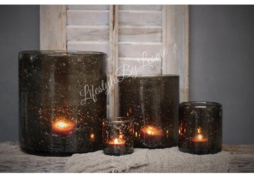 Brynxz Brynxz glazen windlicht steenslag dark grey 17 cm