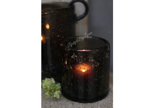 Brynxz Brynxz glazen windlicht steenslag dark grey 11 cm
