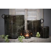 Brynxz glazen windlicht steenslag dark grey 11 cm