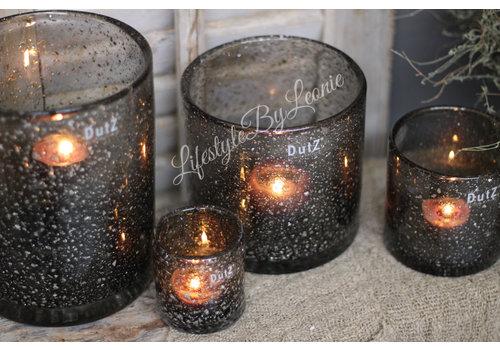 Dutz DUTZ cilinder windlicht grey sparkle 14 cm