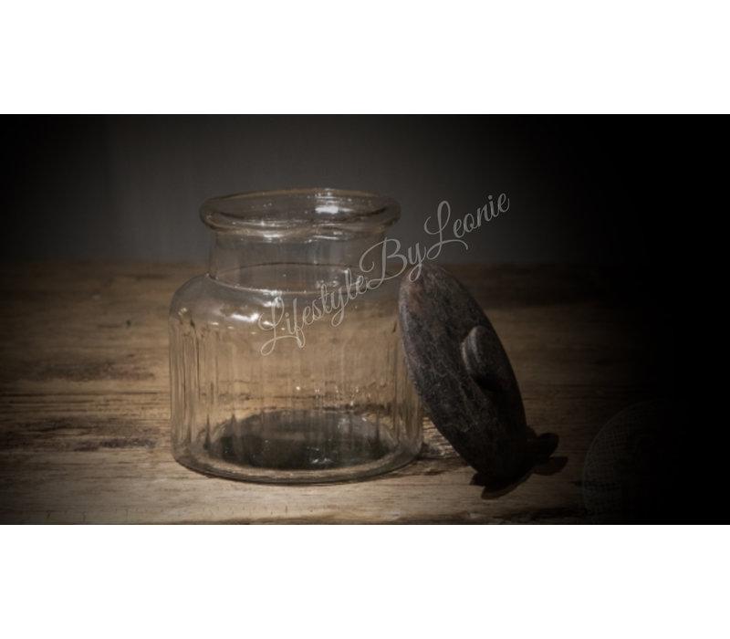 Sobere glazen voorraadpot Old grey - maat S