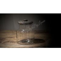 Sobere glazen voorraadpot Old grey - maat M