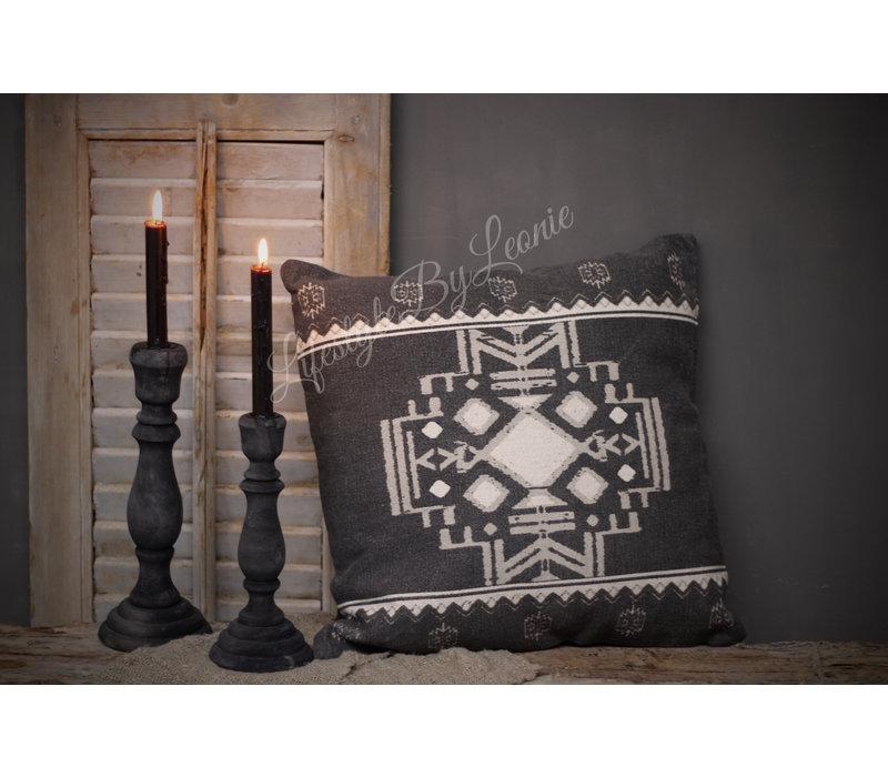 Kussen kelim Black/Grey 45 cm