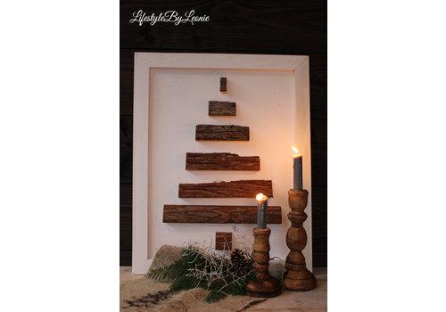 Houten wand ornament Tree white