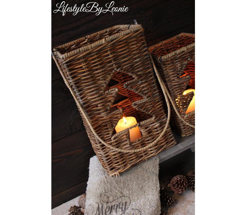 Rustic rattan windlicht Tree 36 cm
