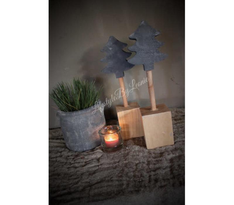 PTMD houten boom op blokvoet grijs