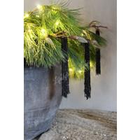 Sobere zwarte kralenhanger Fringe 20 cm