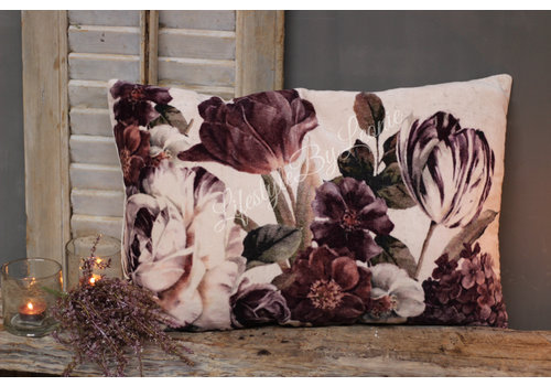 LifestyleByLeonie Velours kussen field flowers Mauve 60 cm