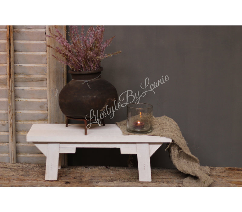 Houten vensterbank krukje White wash 45 cm