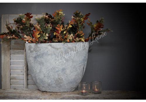 Zijden tak eikenblad Green/brown 51 cm