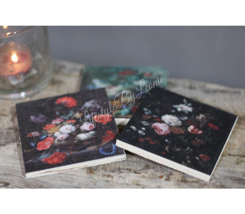 Setje onderzetters flowers - 6 stuks