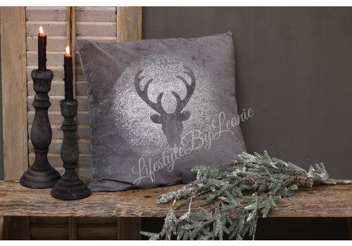 LifestyleByLeonie Kussen grijs sparkle Deer 45 cm