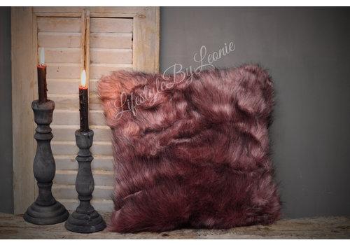 LifestyleByLeonie Nep bontkussen Ash pink 45 cm