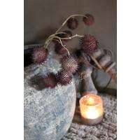 Zijden tak met plataanballen aubergine