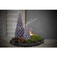 Kerstboom kaars grijs 20 cm - maat M