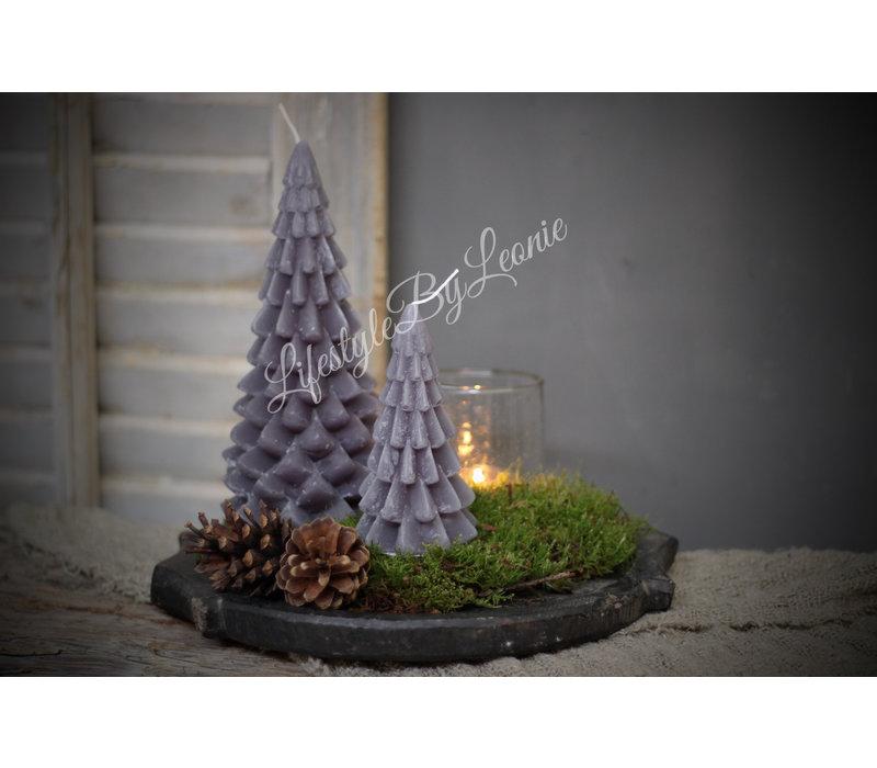 Kerstboom kaars grijs 20 cm